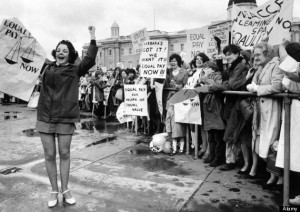 Trafalgar Square 1000 women and girls went on a march demonstrating for equal pay with men